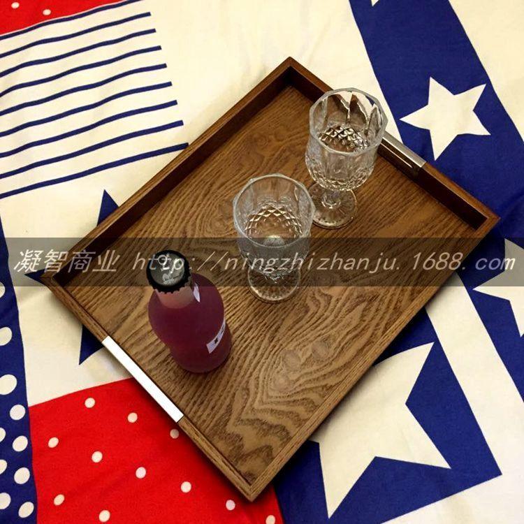 木制托 橡木皮饰面长方形托盘(小)烤漆 茶盘  餐盘现代简约 凝智