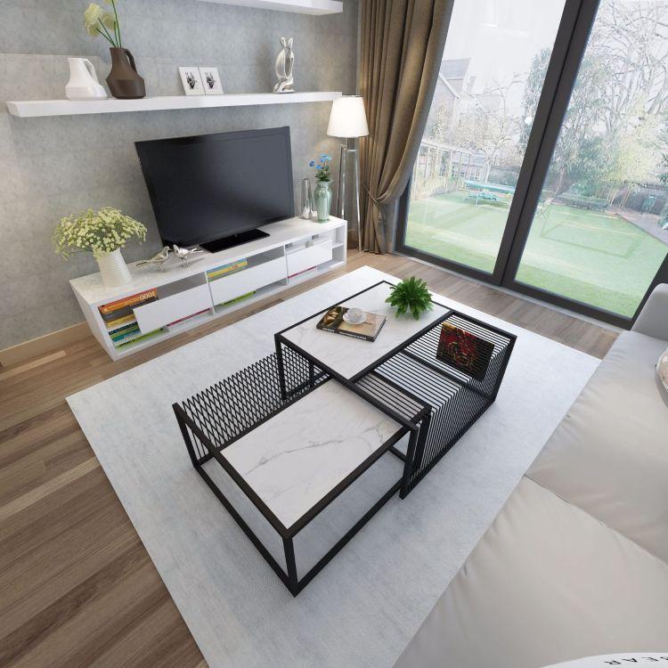 现代简约北欧客厅小户型边几组合设计师家具创意铁艺大理石茶几