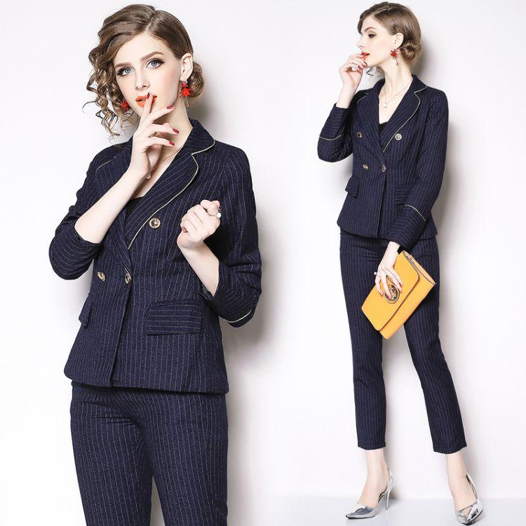 新款时尚修身OL气质商务正装职业装修身裤套装