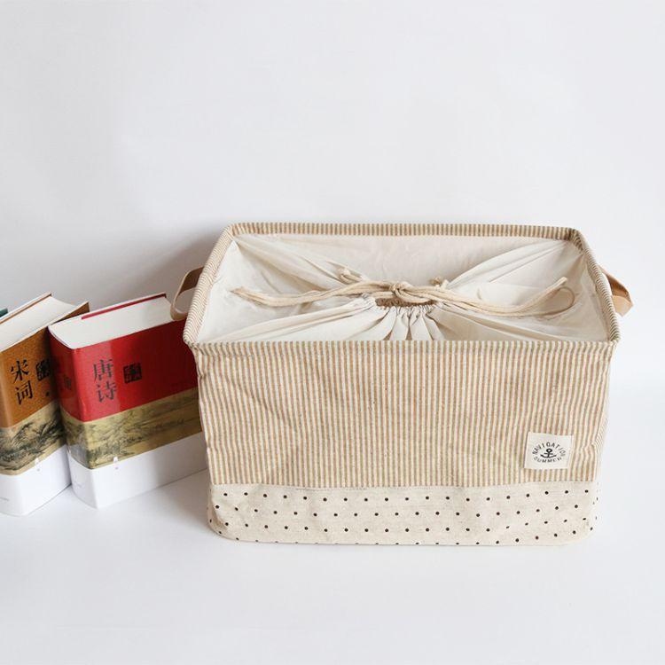 棉麻布藝桌面收納筐長方形置物籃收納籃手提籃子零食筐置物框