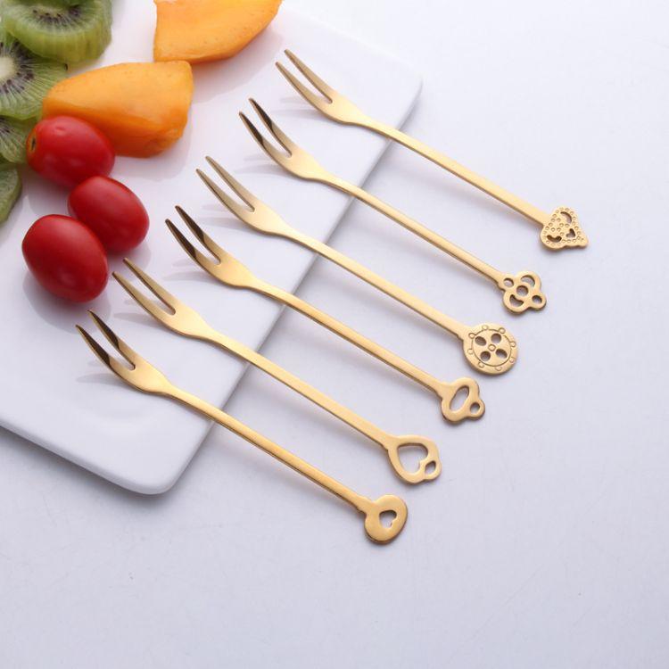 现货批发水果叉304不锈钢吃水果叉甜品叉蛋糕叉创意小叉家用6支装