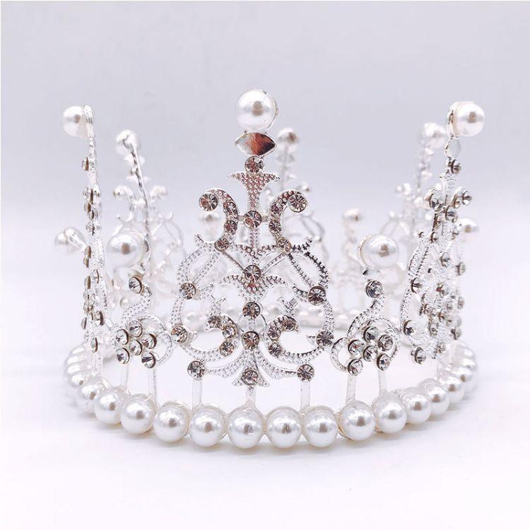 皇冠蛋糕装饰全圆 适合6、8寸生日蛋糕用,金色银色皇冠带钻