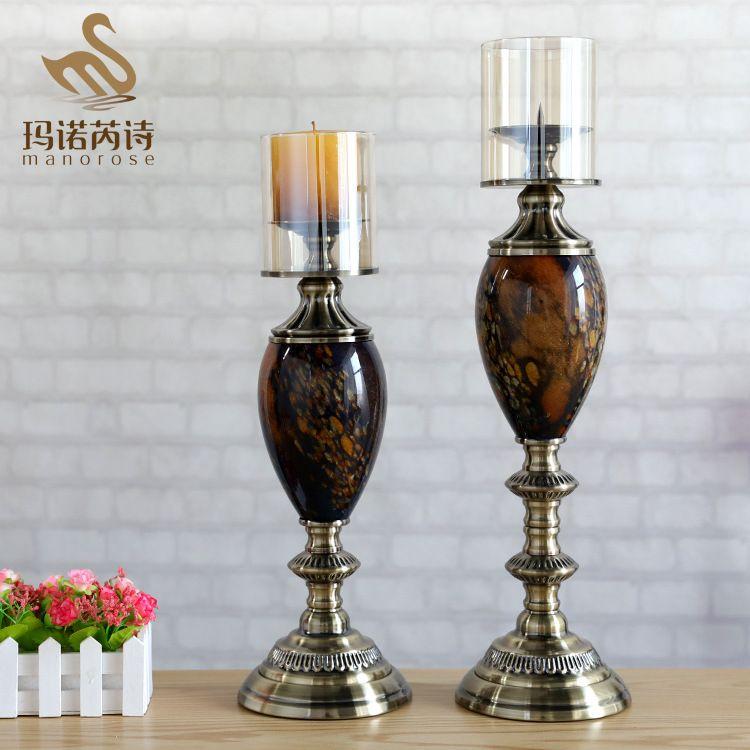 玻璃烛台创意欧式烛台摆件现代蜡烛座家居饰品酒吧餐厅装饰批发