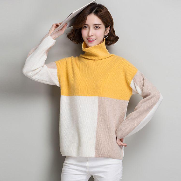 2018年韩版新款冬季宽松套头拼色休闲百搭女式毛衣  年轻羊毛衫
