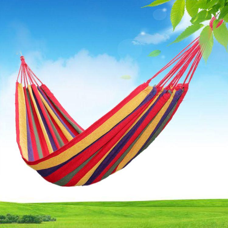 户外旅行装备休闲 野营双人帆布室内休闲双人单人加宽吊床送绑绳