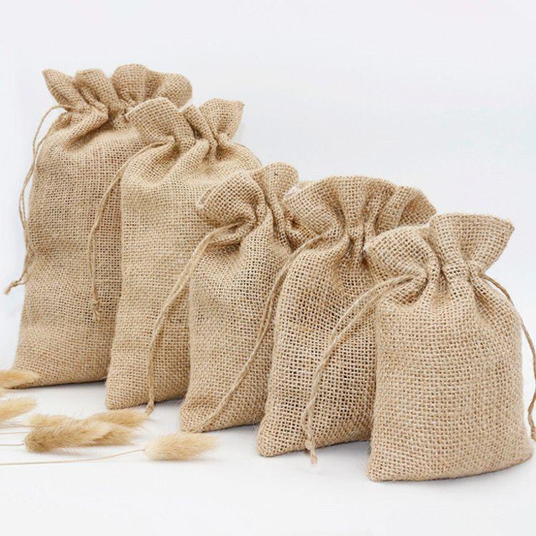 麻布袋束口袋小布袋抽绳收口袋收纳袋小号米袋包装麻袋干货收纳袋