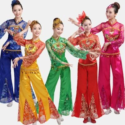 2016新款秧歌广场演出服装女装民族舞台表演服饰腰鼓舞扇子舞服装