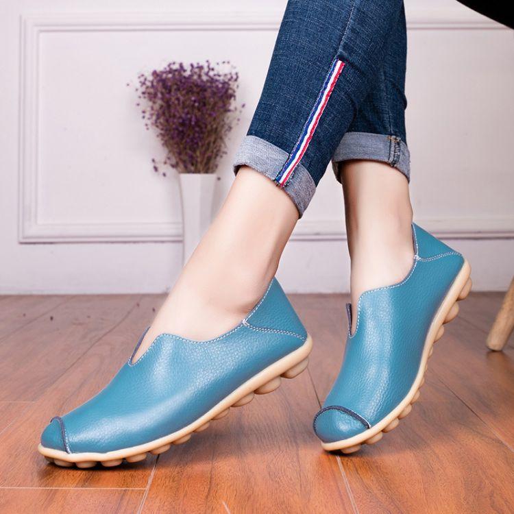 厂家直销秋冬女单鞋新款休闲真皮平底单鞋女时尚系带妈妈鞋豆豆鞋