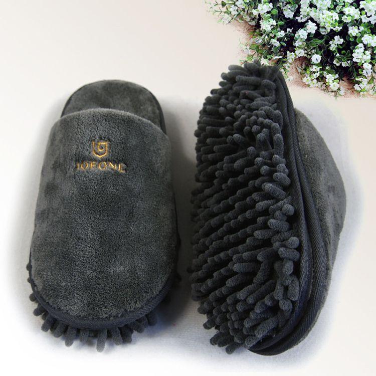 广告定制 高档绣花logo客户礼品珊瑚绒雪尼尔 擦地拖鞋懒人拖鞋