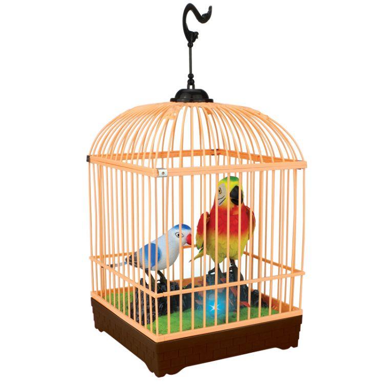 声控鸟 感应 双鸟 仿真鹦鹉发声 电动小鸟 声控鸟笼亲子玩具