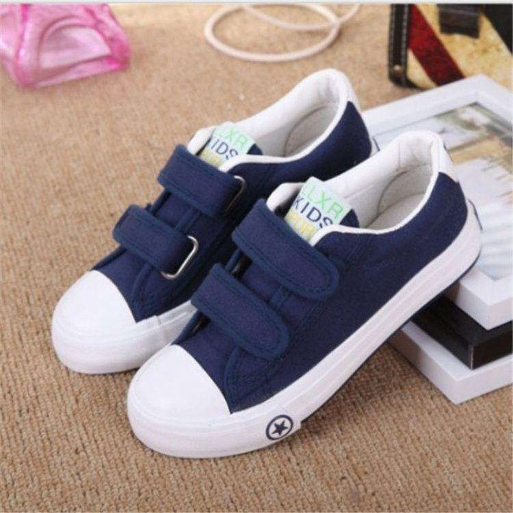 魔术贴童鞋 品牌小白鞋儿童帆布鞋搭扣基本款亲子鞋 厂家一件代发