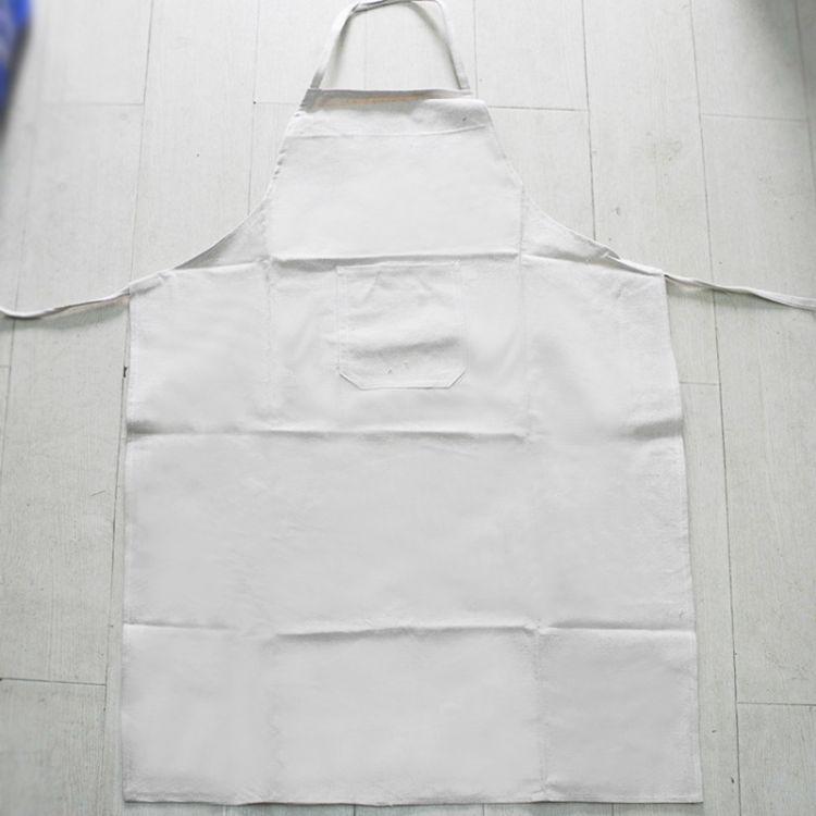 白甲布帆布围裙套装 工厂车间厨房围腰套袖护袖防尘耐磨