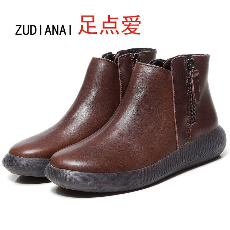 新款真皮休闲牛筋底短靴棉鞋圆头侧拉链女鞋8712厂家直销一件代发