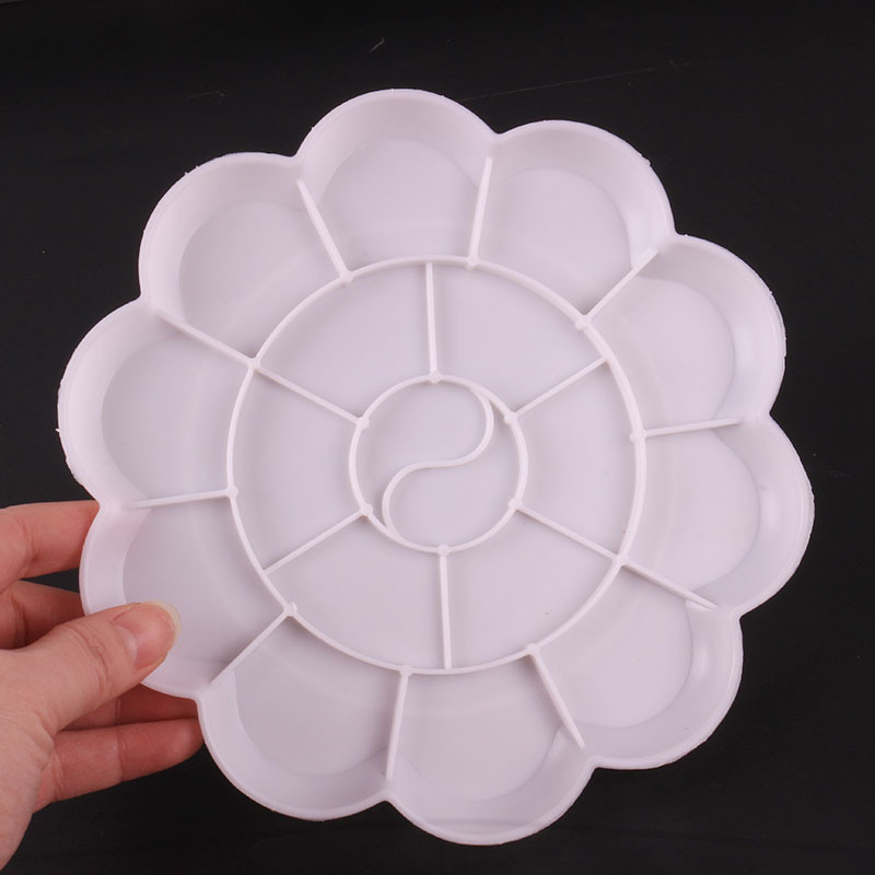 厂家直销大号梅花调色盘颜料盘 学生丙烯水彩调色盒 绘画调色碟
