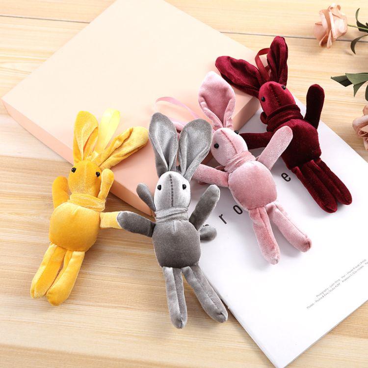 韩国绒许愿兔永生花束兔子娃娃配件毛绒玩具包包挂件  批发