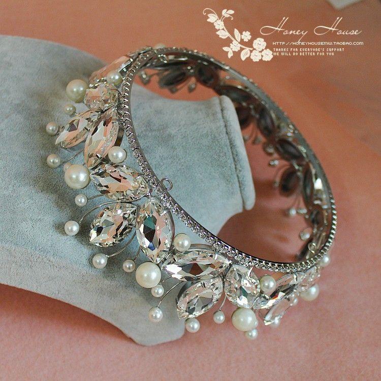 新款大皇冠 水晶圆皇冠 新娘头饰珍珠水晶结婚皇冠 圆形大皇冠