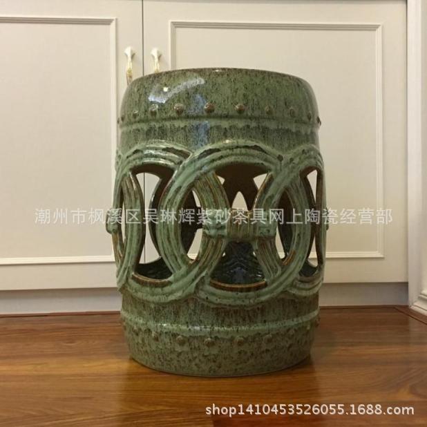鼓凳陶瓷鼓凳彩绘凳圆凳圆墩色釉陶瓷凳子凉墩凉凳坐墩坐凳鼓墩