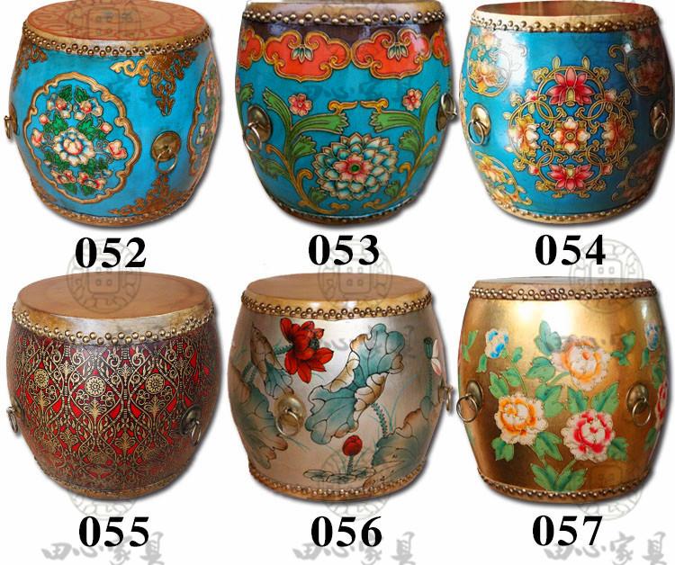 中式彩绘牛皮鼓凳田园彩绘复古特色换鞋圆凳梳妆凳 实木牛皮鼓凳