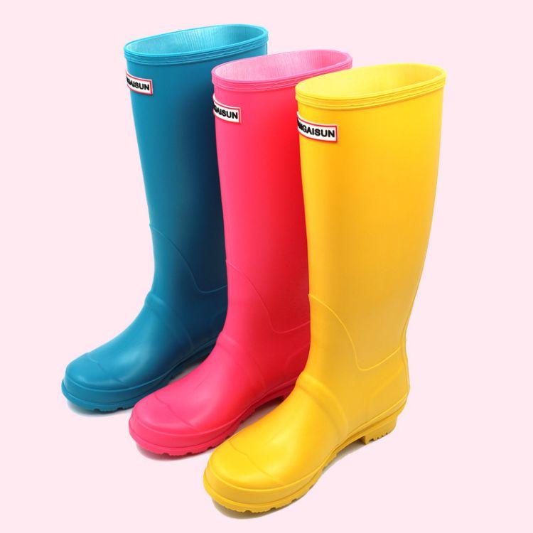 Kangaisun女士高筒防水雨靴胶鞋 亲子长筒雨鞋套时装水鞋韩版秋冬