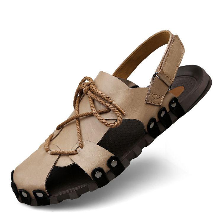 夏天时尚潮凉鞋 凉拖鞋 真皮 软橡胶底 纯手工无胶水沙滩凉拖鞋