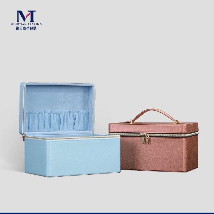 厂家定制PU皮质拉链收纳箱 化妆品美妆用品手提收纳皮盒
