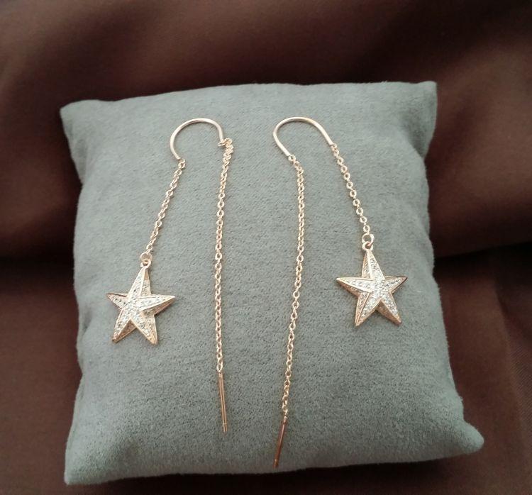 耳环 微镶钻立体五角星长款耳线 欧美时尚高饰耳钉原创银饰