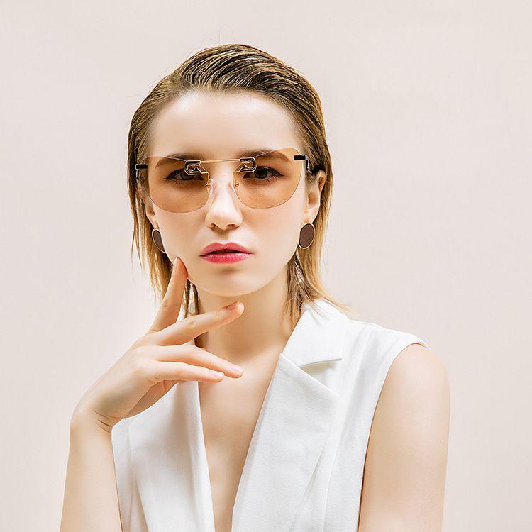奇迹猫眼无框太阳镜2018太阳偏光镜复古欧美个性时尚同款墨镜产地