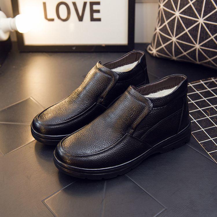厂家直销棉鞋真皮男加绒爸爸鞋子休闲男鞋爆款皮鞋男中年棉皮鞋男