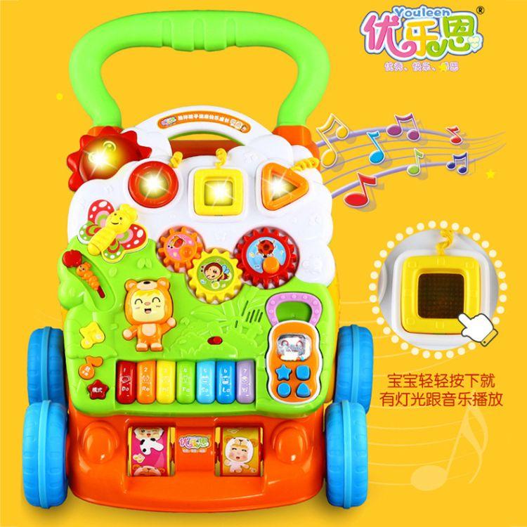 婴儿调速音乐手推学步车1-2岁宝宝助步车多功能学走路防侧翻