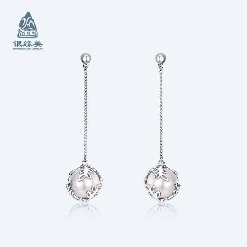 银缘美首饰S925纯银批发韩版天然珍珠耳坠一件代发饰品定制厂家