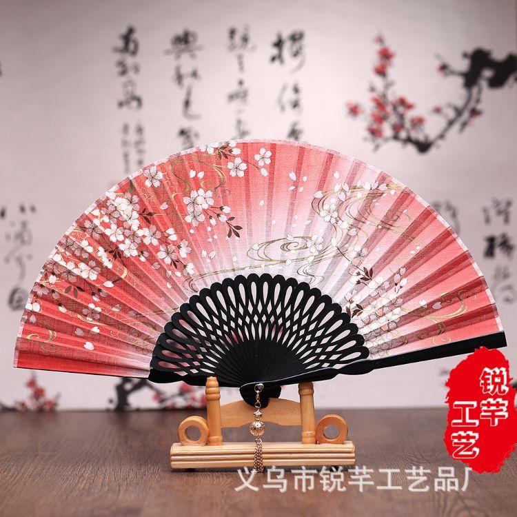 新款四季通用亚麻樱花流云女式扇子雕刻印花 多色多选批发