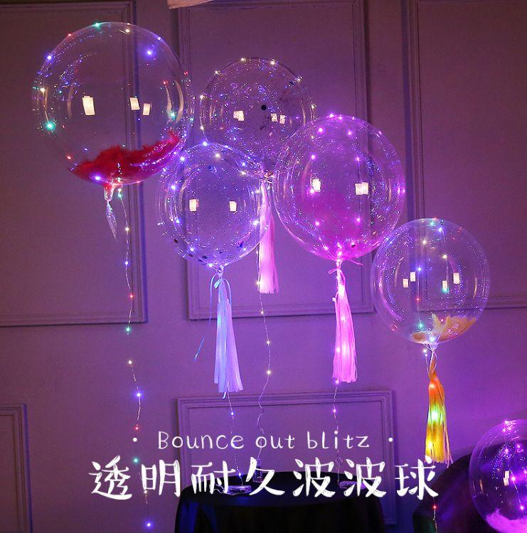 波波球发光手柄透明卡通儿童气球爆款地摊 网红led彩灯汽球厂家销