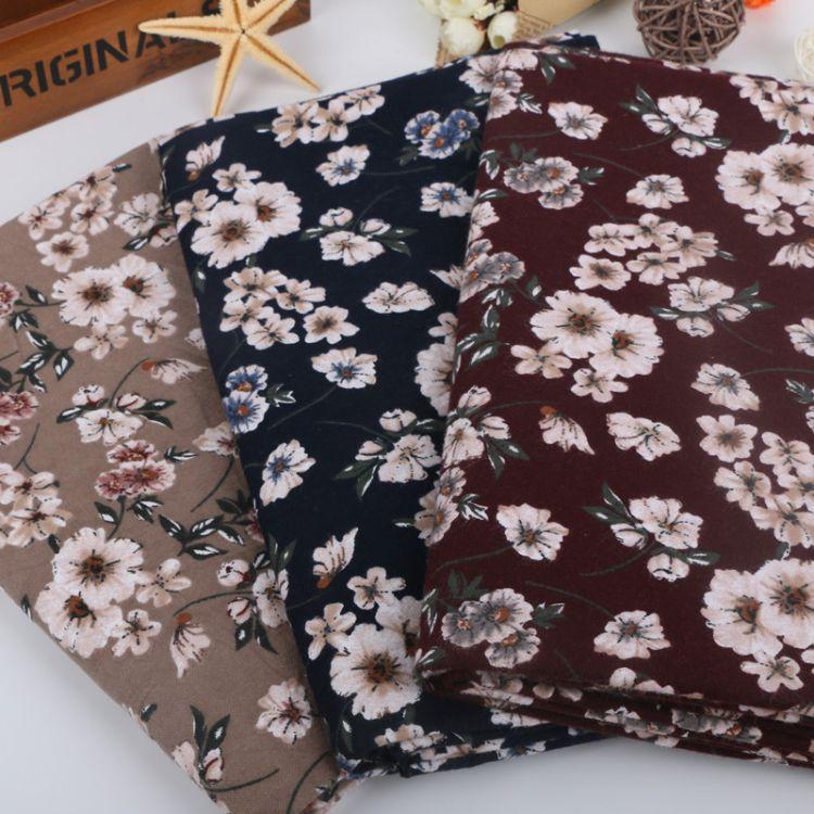 小清新全棉印花色织绒布长期现货供应 绍兴纺织布料可拿样