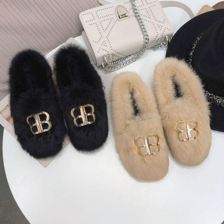 韩版金属扣毛毛棉鞋女2018秋冬新款加绒豆豆鞋女平底时尚妈妈鞋
