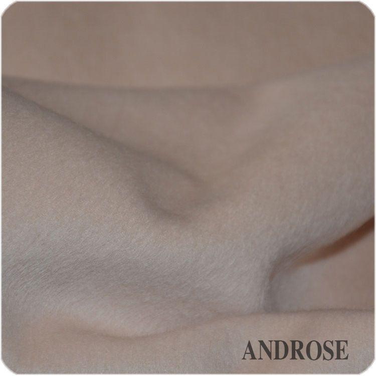 现货直销 米白色/淡粉色双面阿尔巴卡面料 秋冬加厚大衣呢料