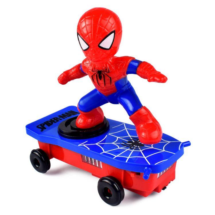 厂家直销蜘蛛特技滑板车电动万向灯光音乐翻滚车儿童卡通玩具