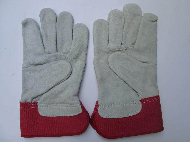 牛二层皮本色皮劳保电焊红胶红斜布短半皮焊工手套 特价平卖