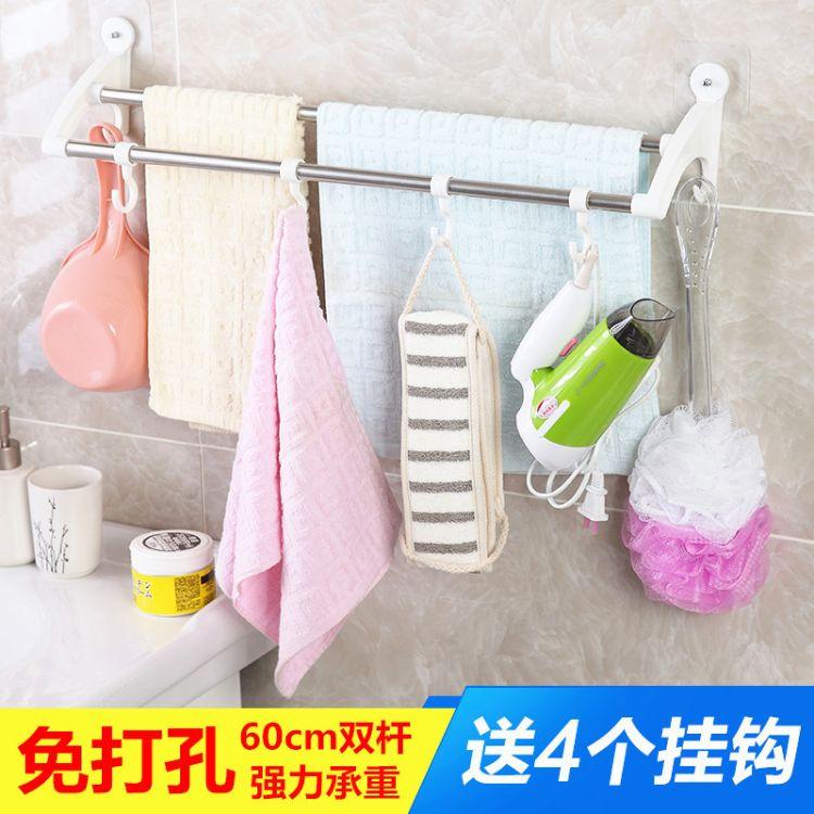 芯式强力吸盘毛巾架卫生间免打孔无痕贴浴巾架浴室挂毛巾60cm双杆