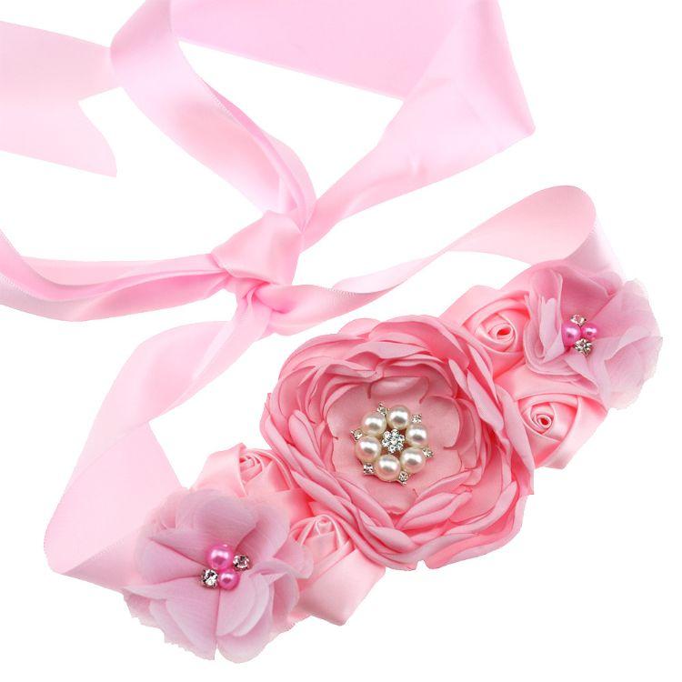 欧美纯手工烧边花玫瑰新娘婚纱儿童花童礼服腰带孕妇写真摄影道具