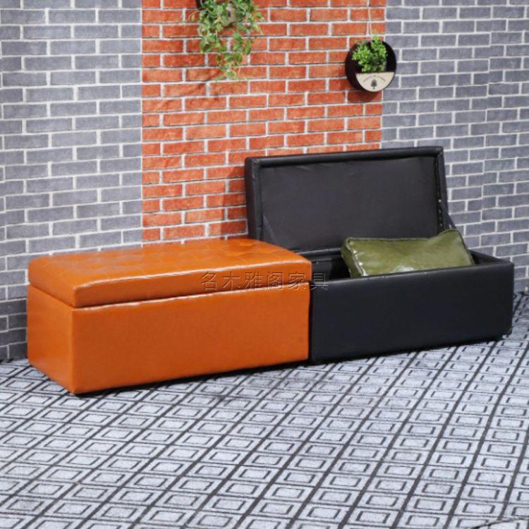 定制服装店折叠坐人收纳凳换鞋凳 多功能皮革储物凳子收纳箱布艺