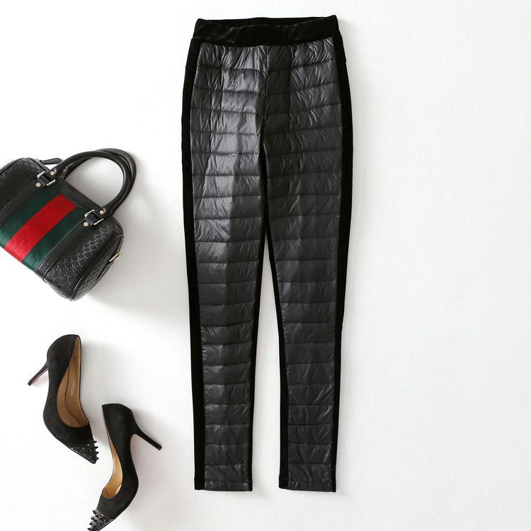 2018新款秋冬季女式羽绒裤 OL通勤铅笔裤紧身型高腰小脚裤长裤