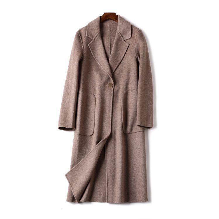 新款外套女秋冬2018新款 高端双面呢羊毛羊绒大衣女欧美工厂
