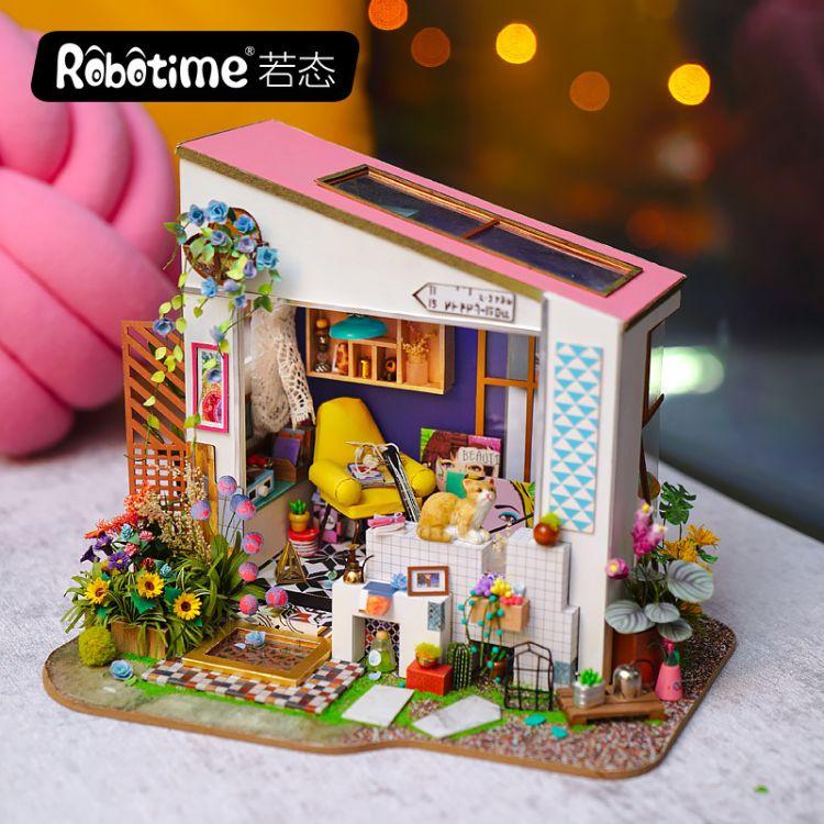 若态创意diy小屋木制手工拼装建筑模型3d立体拼图 莉莉的门廊直销