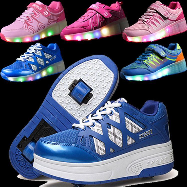 暴走鞋厂家一件代发充电儿童发光轮滑鞋溜冰鞋双轮超轻男女爆走鞋