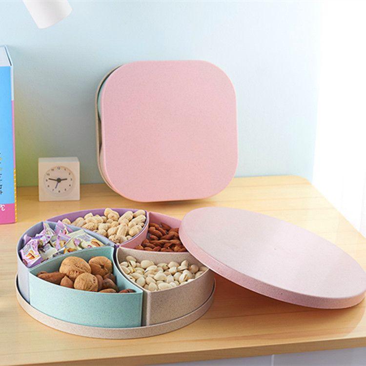 包邮小麦秸秆干果盒 带盖多格糖果盒 结婚过年水果盘礼品零食盘