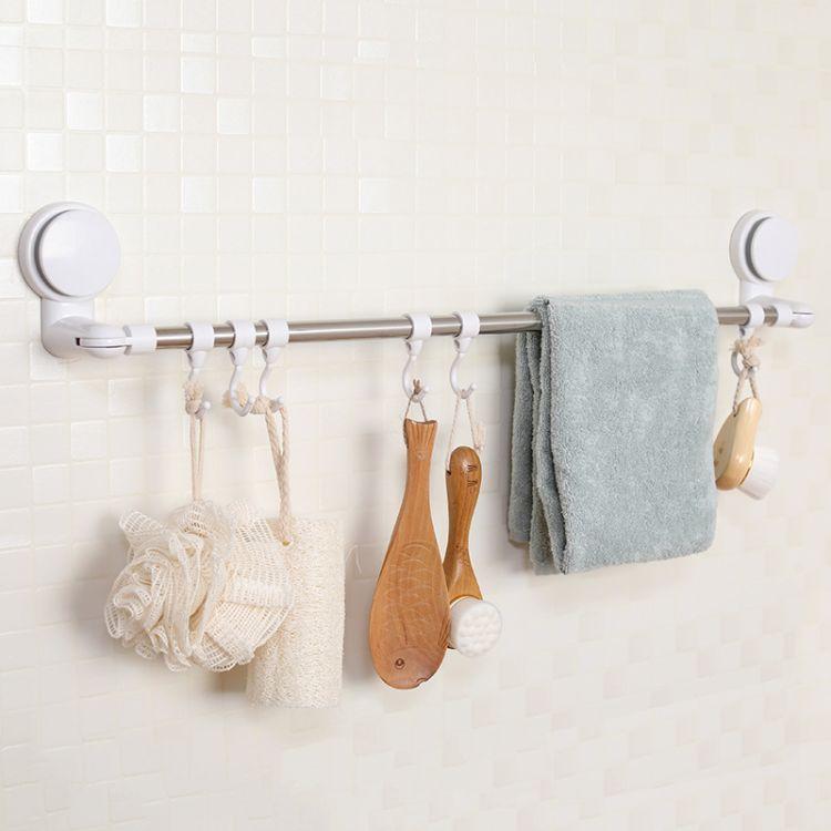 卫生间浴室置物架厕所洗手间洗漱台毛巾架子收纳吸壁式免打孔壁挂