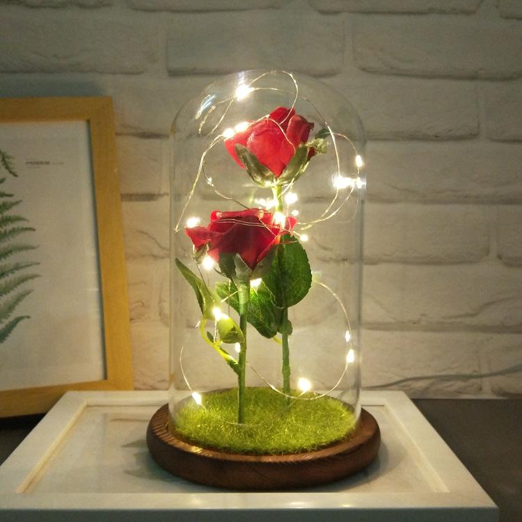 双头仿真玫瑰花  结婚礼物 LED灯家居摆件 防尘玻璃罩