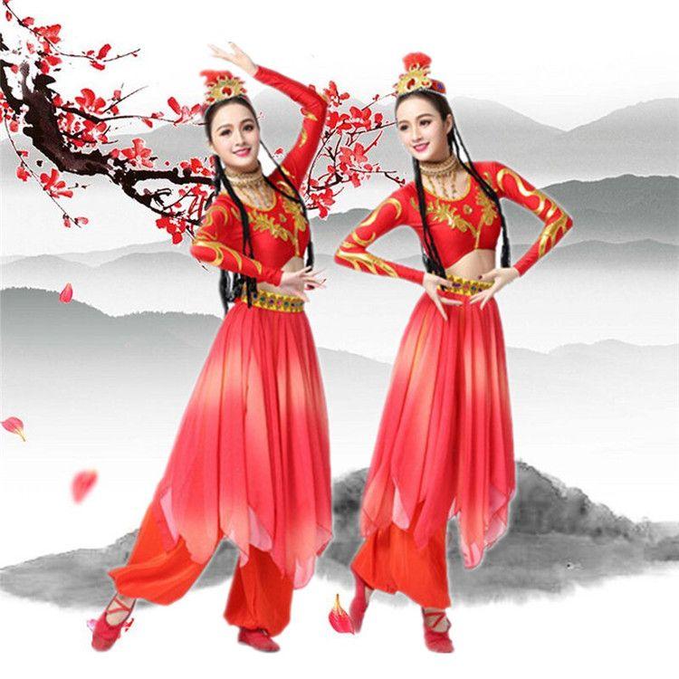 新疆舞蹈演出服女成人2018新款维吾儿族民族服装现代开场舞大摆裙