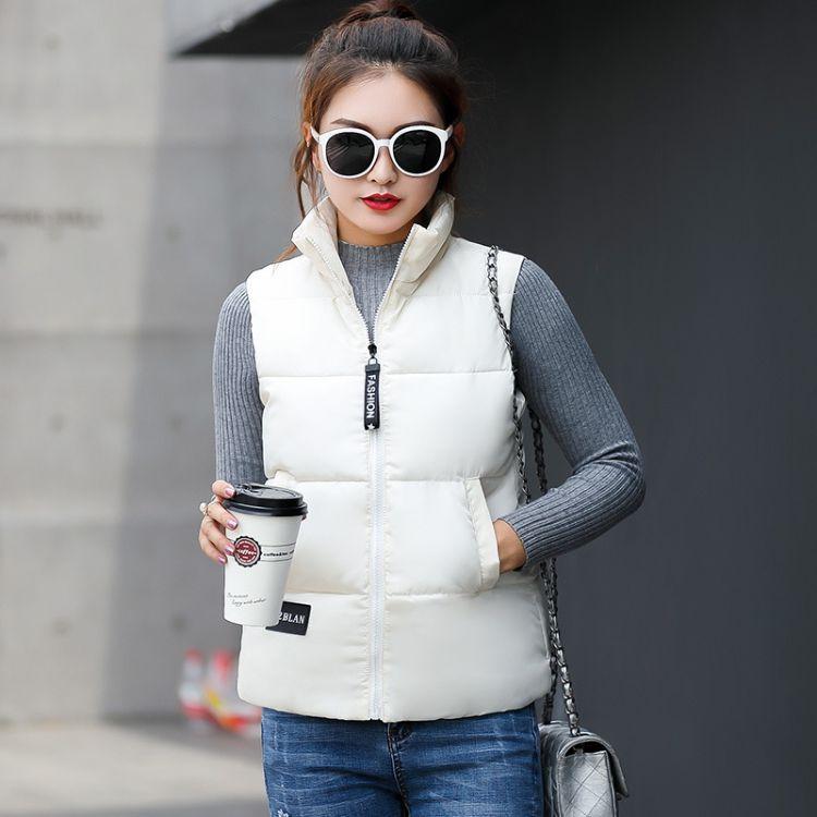 2018秋冬新款棉马夹女装韩版立领棉背心外套修身显瘦马甲