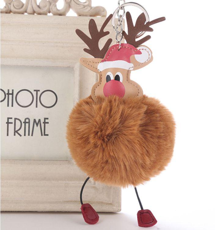 热销圣诞老人毛球钥匙扣挂件 圣诞节麋鹿毛球钥匙扣挂件批发